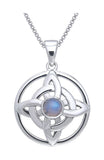 Jewelry Trends Sterling Silver with Rainbow Moonstone Quaternary Knot Pendant on 18 Inch Box Chain Necklace