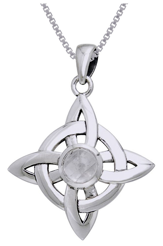 Jewelry Trends Sterling Silver with Moonstone Celtic Good Luck Quaternary Knot Pendant on 18 Inch Box Chain Necklace