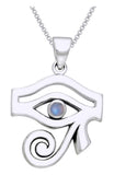 Jewelry Trends Sterling Silver Egyptian Eye of Horus Pendant with Moonstone on 18 Inch Box Chain Necklace