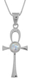 Jewelry Trends Sterling Silver Egyptian Cross Ankh Pendant with Moonstone on 18 Inch Box Chain Necklace