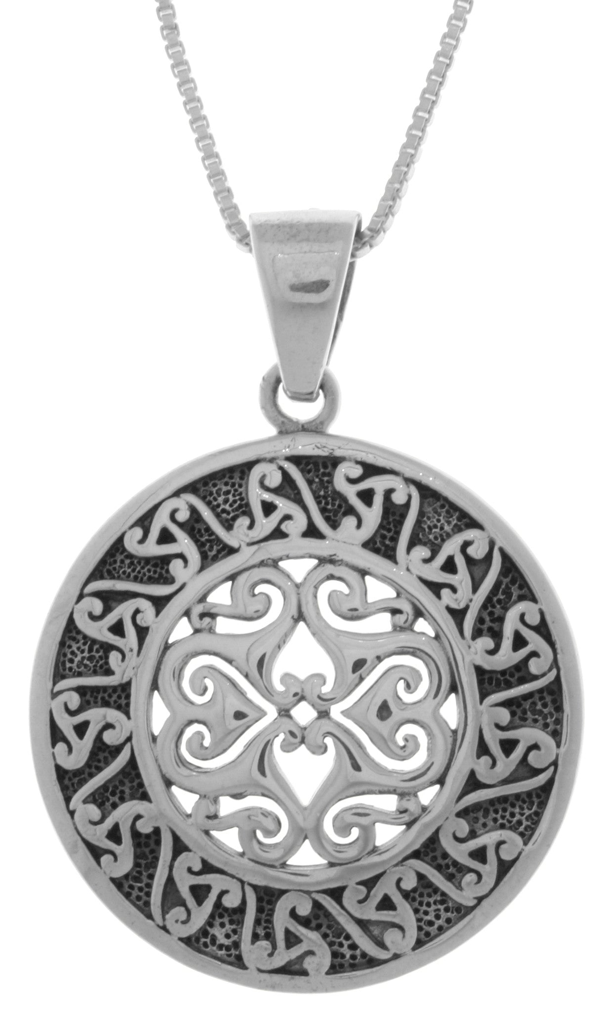Jewelry Trends Sterling Silver Celtic Triskele Sun Disk Pendant on 18 Inch Box Chain Necklace