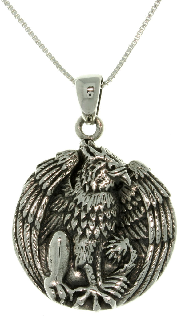 Jewelry Trends Sterling Silver Jody Bergsma Gryphon Pendant with 18 Inch Box Chain Necklace