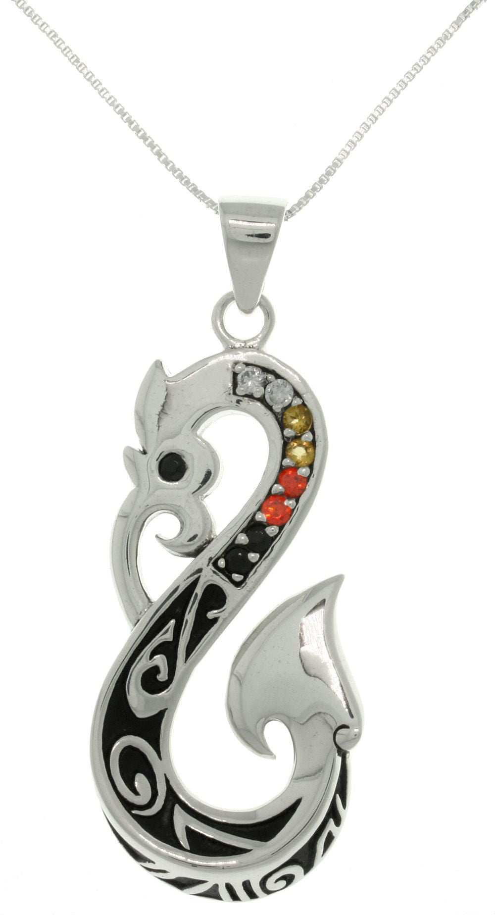 Jewelry Trends Sterling Silver Celtic Viking Dragon Tail Pendant with Austrian Crystals on Chain Necklace