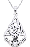 Jewelry Trends Sterling Silver Celtic Triquetra Knot Claddagh Circle of Life Pendant on 18 Inch Box Chain Necklace
