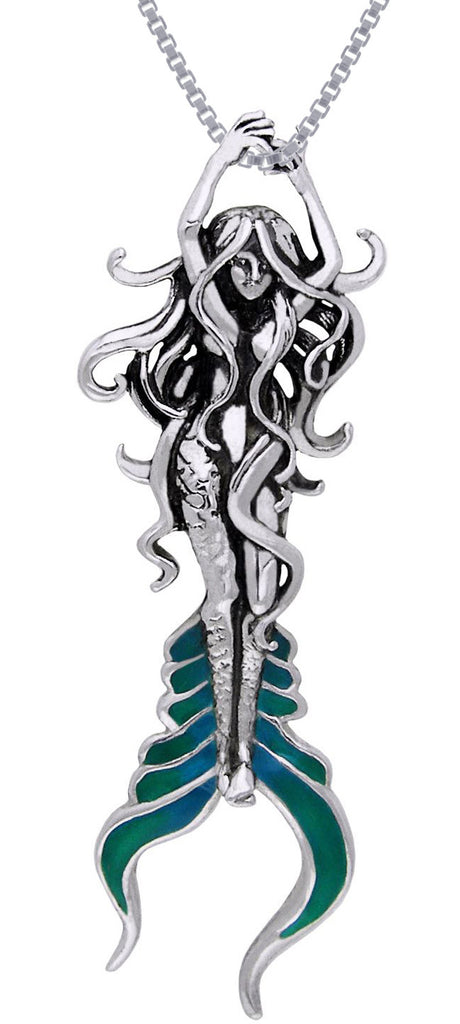 Jewelry Trends Sterling Silver Beautiful Atlantis Mermaid Pendant on 18 Inch Box Chain Necklace