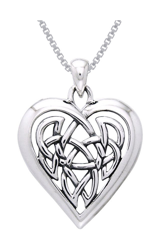 Jewelry Trends Sterling Silver Celtic Knot Eternal Heart Pendant on Box Chain Necklace Gift