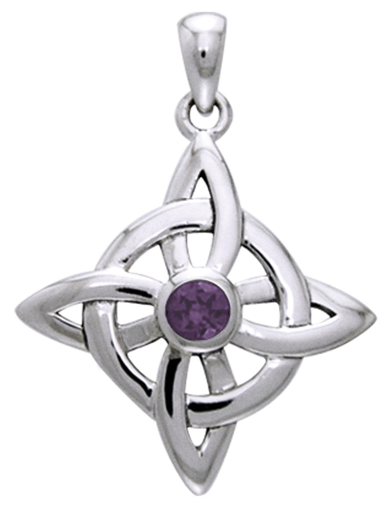Jewelry Trends Sterling Silver Celtic Good Luck Knot Pendant with Amethyst Stone on 18 Inch Box Chain Necklace