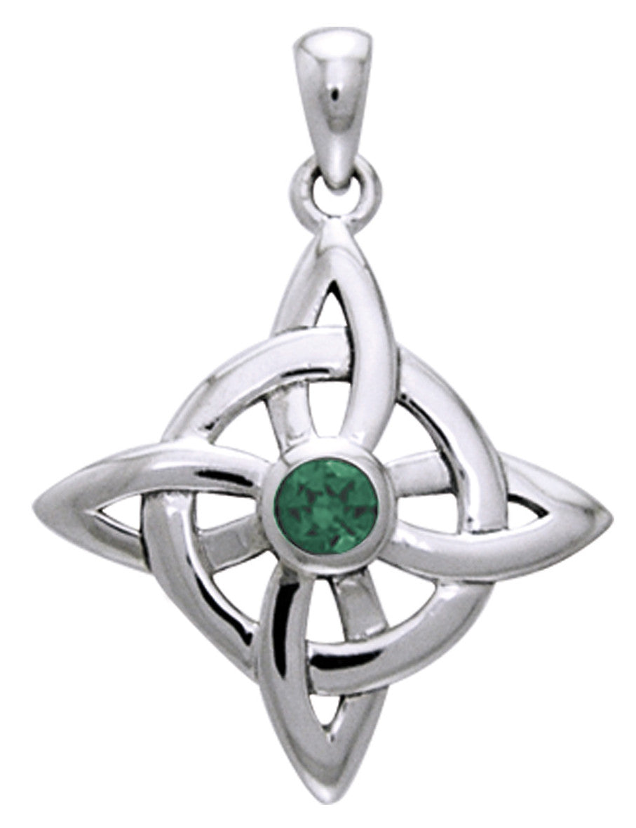 Jewelry Trends Sterling Silver Celtic Good Luck Knot Pendant with Green Glass Stone on 18 Inch Box Chain Necklace