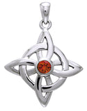 Jewelry Trends Sterling Silver Celtic Good Luck Knot Pendant with Garnet Stone on 18 Inch Box Chain Necklace