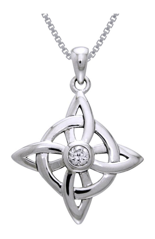 Jewelry Trends Sterling Silver and CZ Celtic Good Luck Knot Pendant on 18 Inch Box Chain Necklace