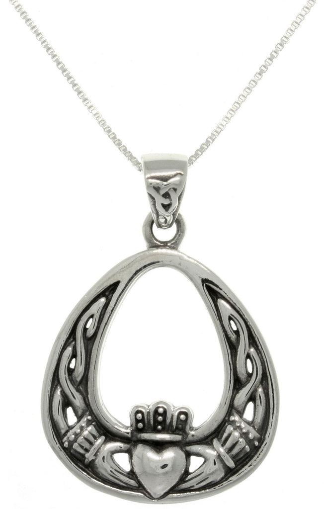 Jewelry Trends Sterling Silver Celtic Claddagh Teadrop Pendant on 18 inch Box Chain Necklace