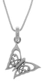 Jewelry Trends Sterling Silver Celtic Butterfly Pendant on 18 Inch Box Chain Necklace