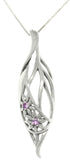 Jewelry Trends Sterling Silver Elegant Flowers Teardrop with Amethyst Pendant on 18 Inch Necklace