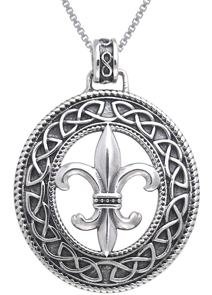 Jewelry Trends Sterling Silver Fleur De Lis Celtic Knotwork Pendant on 18 Inch Box Chain Necklace