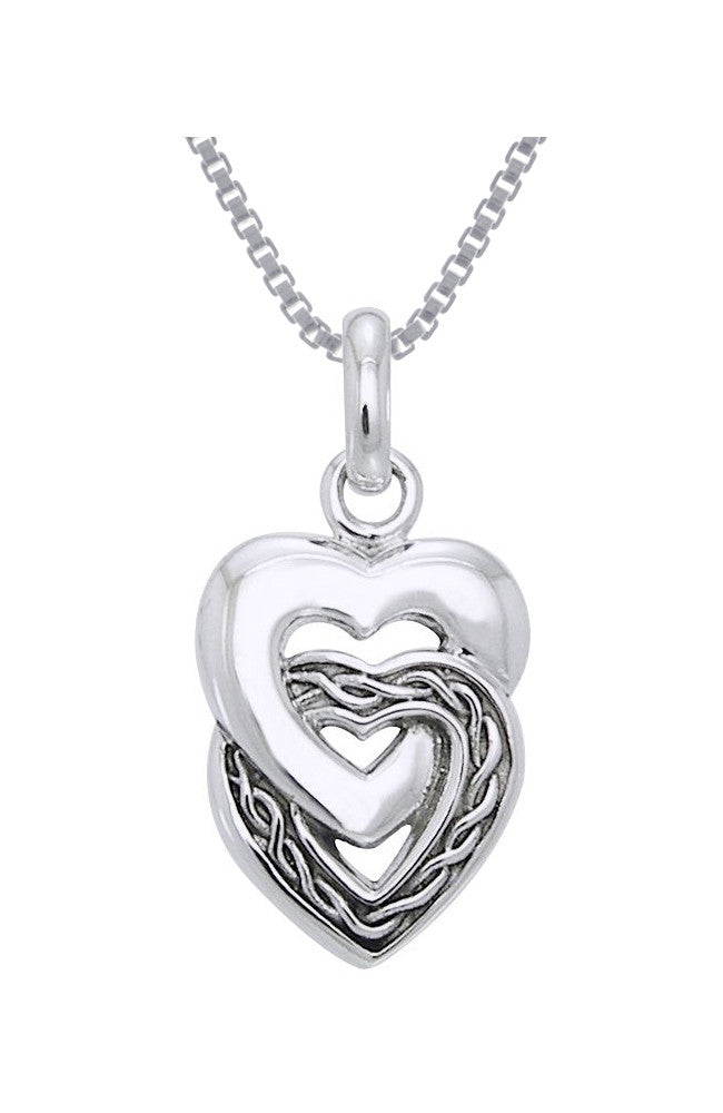 Jewelry Trends Sterling Silver Celtic Double Heart Love Pendant on 18 Inch Box Chain Necklace