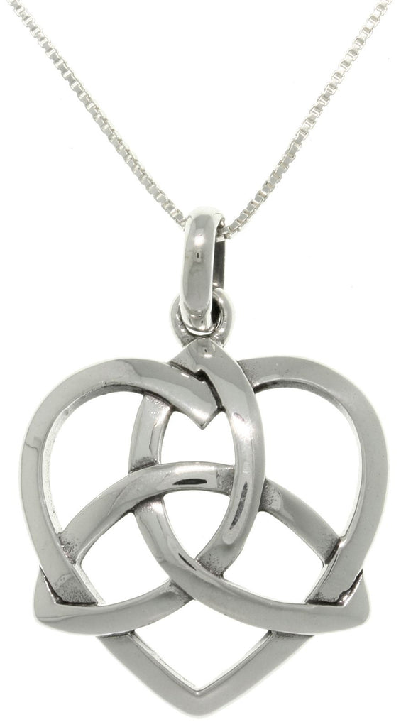 Jewelry Trends Sterling Silver Celtic Trinity Heart Pendant with 18 Inch Box Chain Necklace Gift