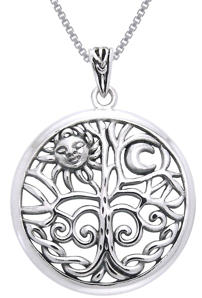 Jewelry Trends Sterling Silver Celtic Sun Moon Tree of Life Pendant on 18 Inch Box Chain Necklace