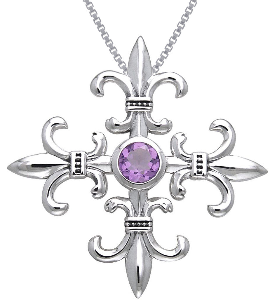Jewelry Trends Sterling Silver and Amethyst Croix La Me'Re Fleur De Lis Pendant on 18 Inch Box Chain Necklace