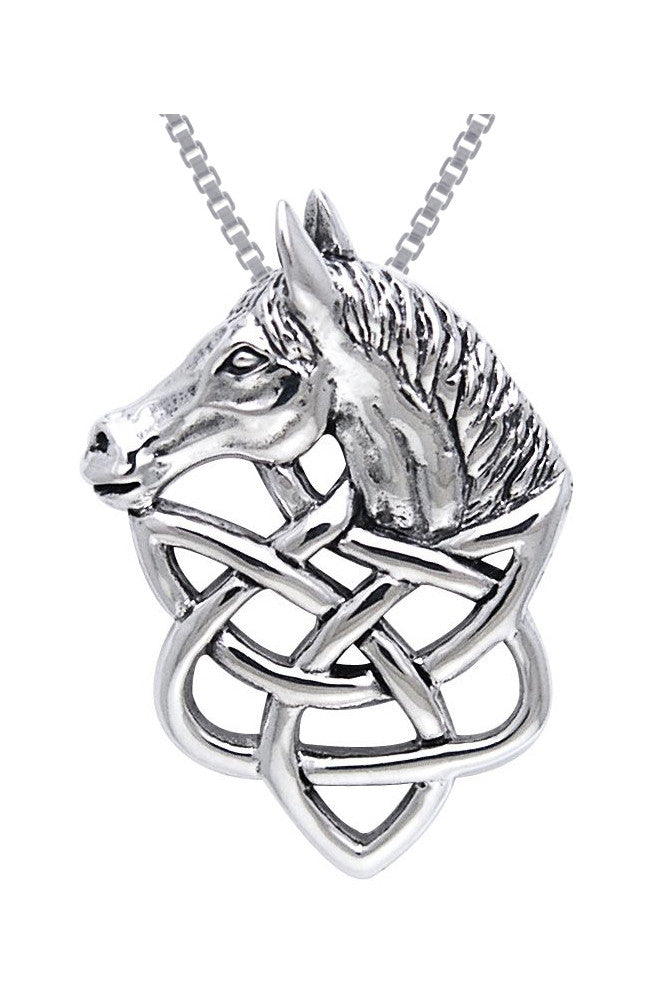 Jewelry Trends Sterling Silver Celtic Knot Work Horse Head Pendant on 18 Inch Box Chain Necklace