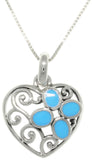 "Jewelry Trends Sterling Silver Filigree Heart with Created Turquoise Pendant on 18"" Box Chain Necklace"