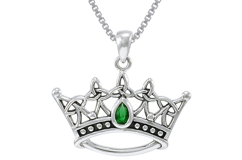 Jewelry Trends Sterling Silver Celtic Triquetra Princess Crown Pendant with Green Glass on Box Chain Necklace