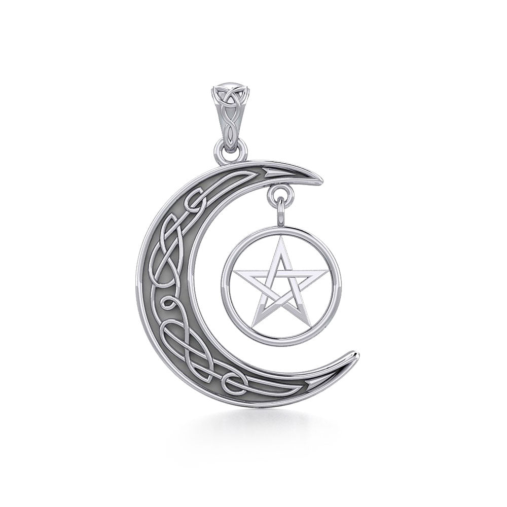 Jewelry Trends Magic Crescent Moon Pentacle Sterling Silver Pendant Necklace 18""