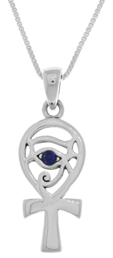Jewelry Trends Sterling Silver Eye of Horus Ankh Pendant with Synthetic Blue Lapis on 18 Inch Box Chain Necklace