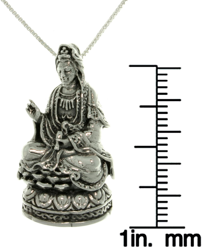 Jewelry Trends Sterling Silver Kwan Yin on Lotus Flower Pendant on Box Chain Necklace Quan Yin