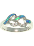Jewelry Trends Created Blue Opal Linked Hearts Sterling Silver Ring with CZ Whole Sizes 5 - 10