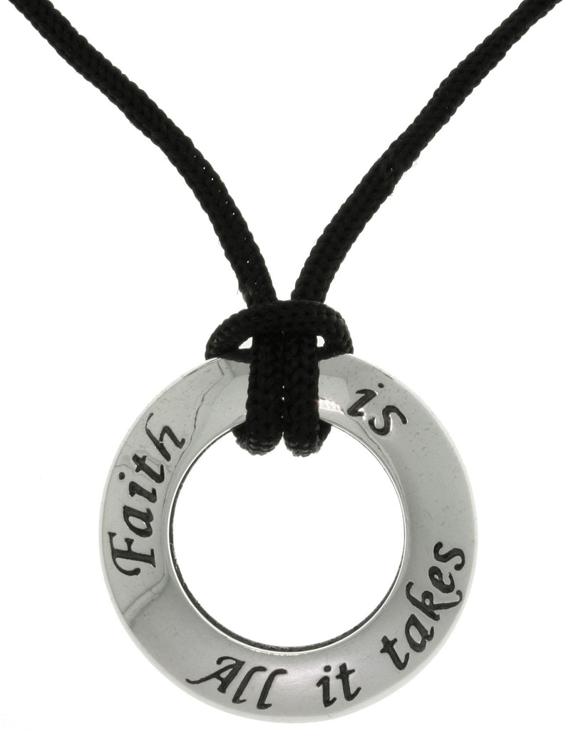 Jewelry Trends Sterling Silver Faith Ring Pendant on Black Cord Necklace