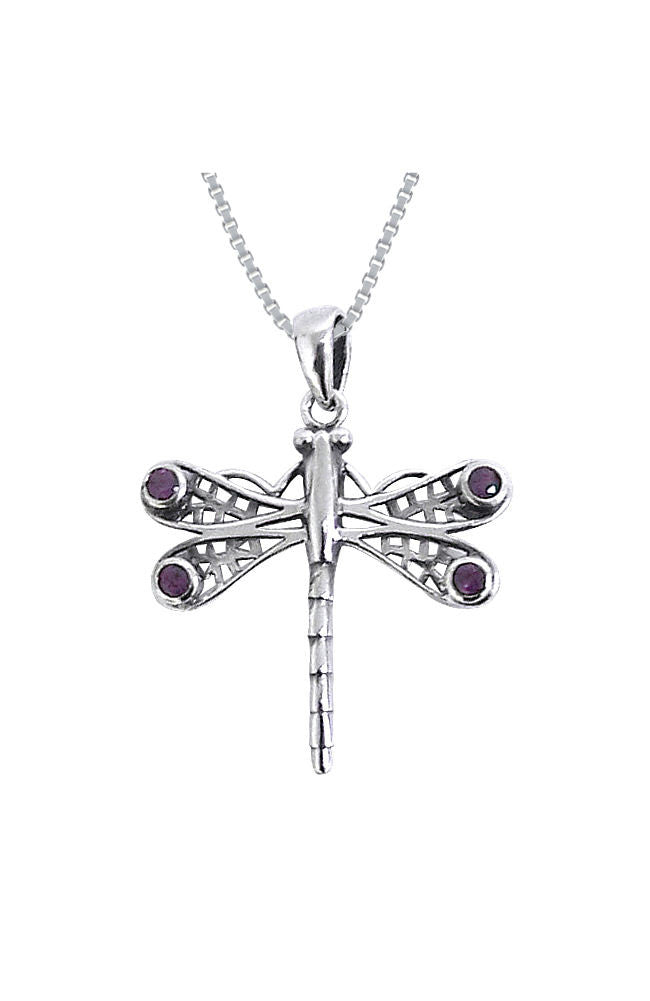 Jewelry Trends Sterling Silver Amethyst Celtic Dragonfly Necklace