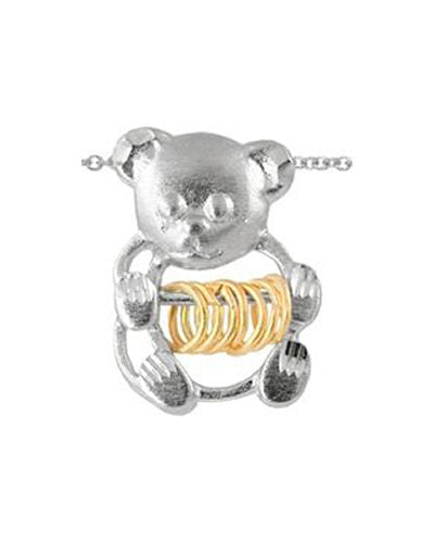 Sterling Silver Wish Rings Teddy Bear Pendant With 18 inch Chain Necklace