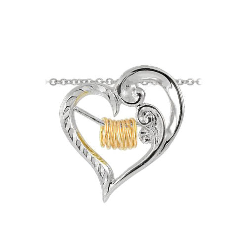 Sterling Silver Wish Ring Sparkle Cut Heart Pendant with 18 Inch Chain Necklace
