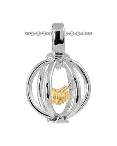 Sterling Silver Wish Rings Sphere Pendant With 18 inch Chain Necklace