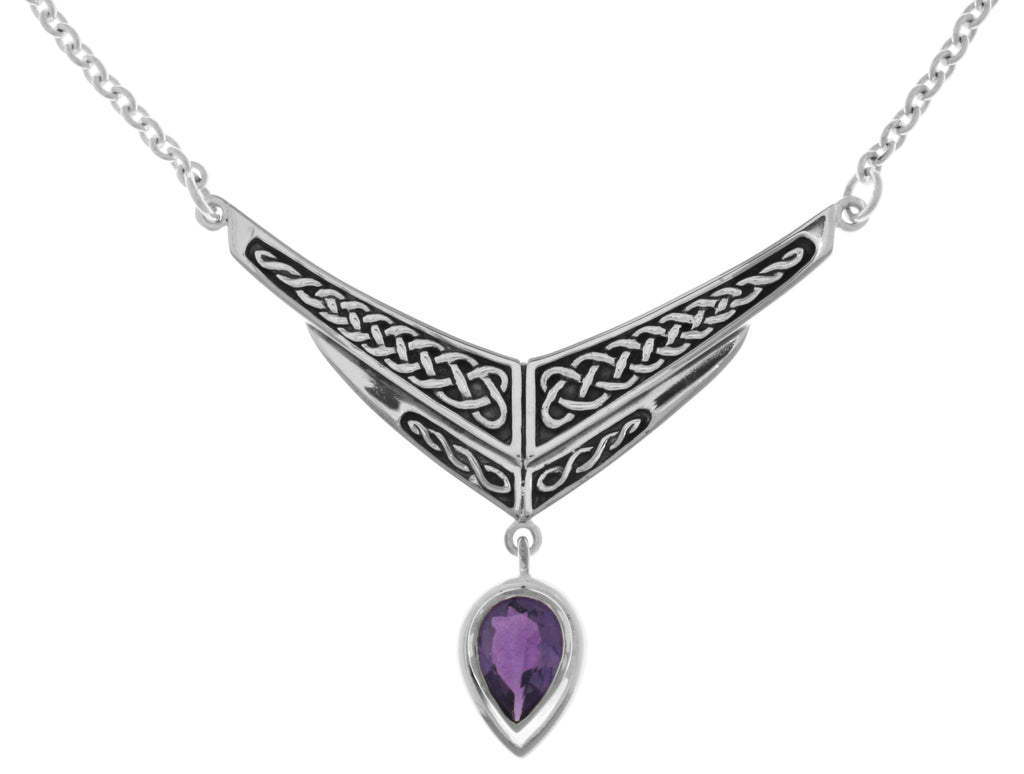 Jewelry Trends Silver Plated Bronze Celtic Knot Chevron Drop Pendant with Purple Glass on Link Chain Necklace