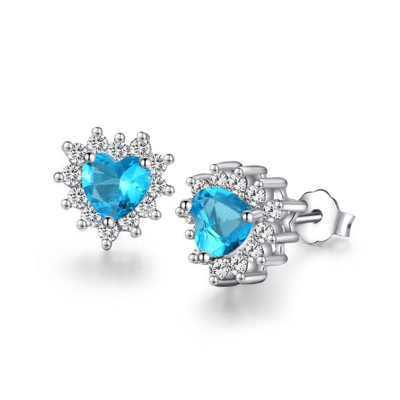 Jewelry Trends Sterling Silver Blue CZ Crystal Heart Stud Earrings with Clear CZ Crystals Prom Jewelry