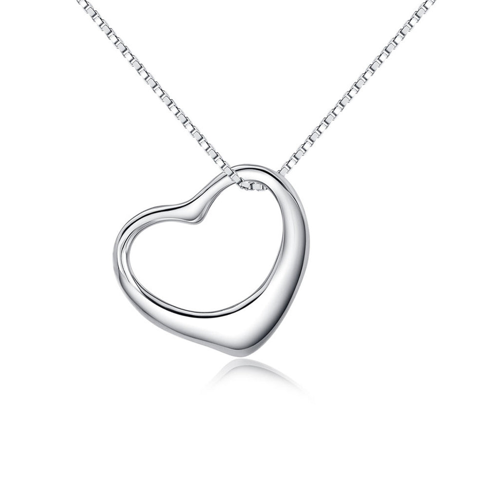 Jewelry Trends Sterling Silver Open Floating Heart Charm on 18 Inch Box Chain Necklace