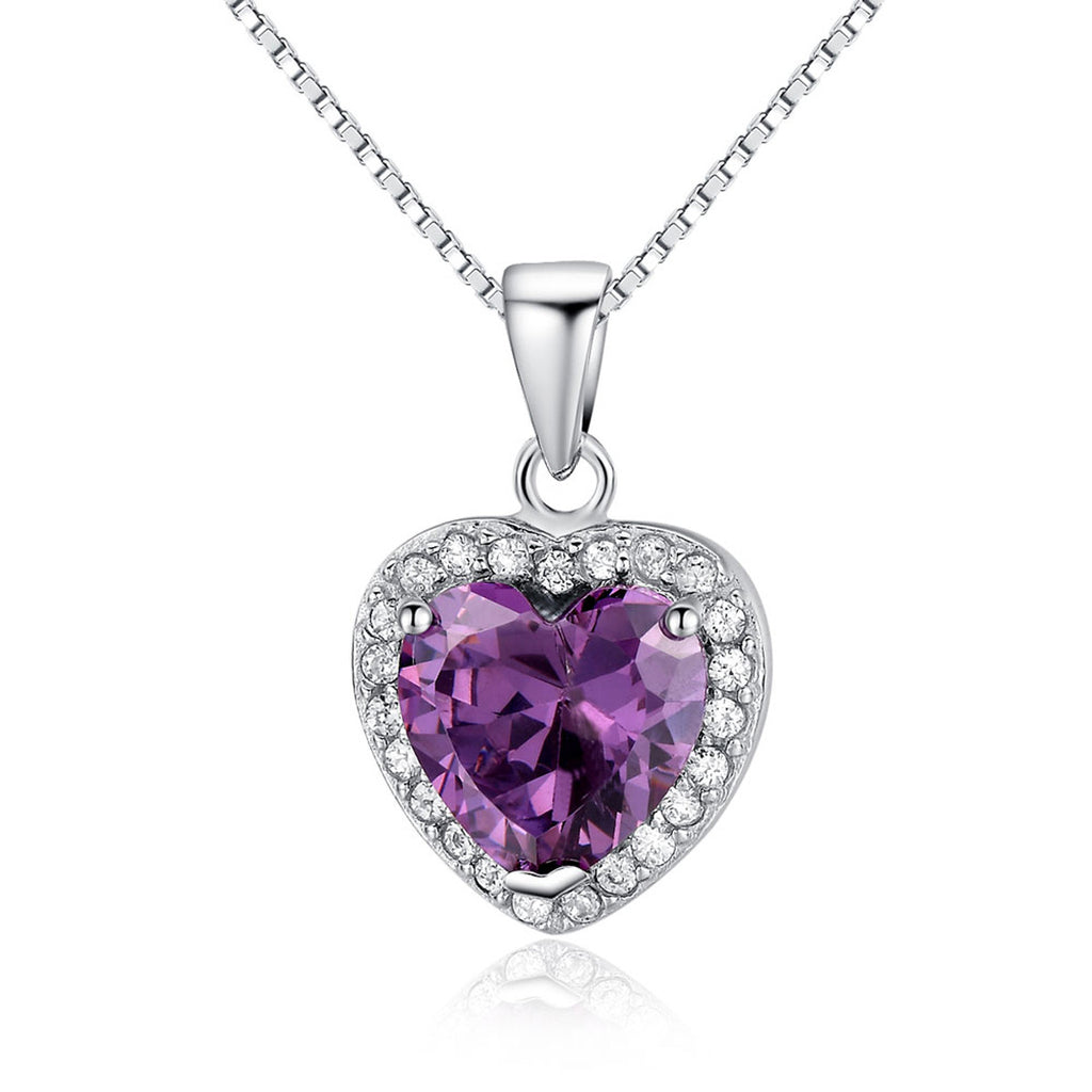 Jewelry Trends Sterling Silver Purple CZ Crystal Heart Pendant with Pave CZ Crystals on Box Chain Necklace Prom Jewelry