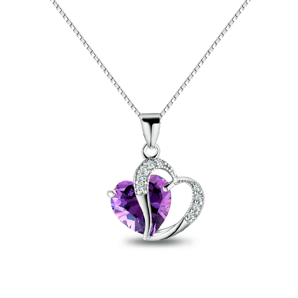 Jewelry Trends Sterling Silver Double Heart Pendant with Purple and Clear CZ Crystals on Box Chain Necklace Gift