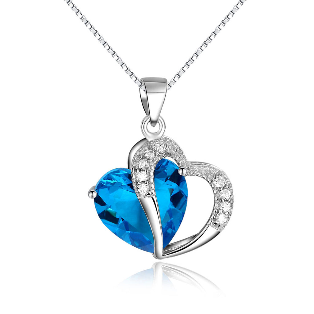 Jewelry Trends Sterling Silver Double Heart Pendant with Blue and Clear CZ Crystals on Box Chain Necklace Jewelry