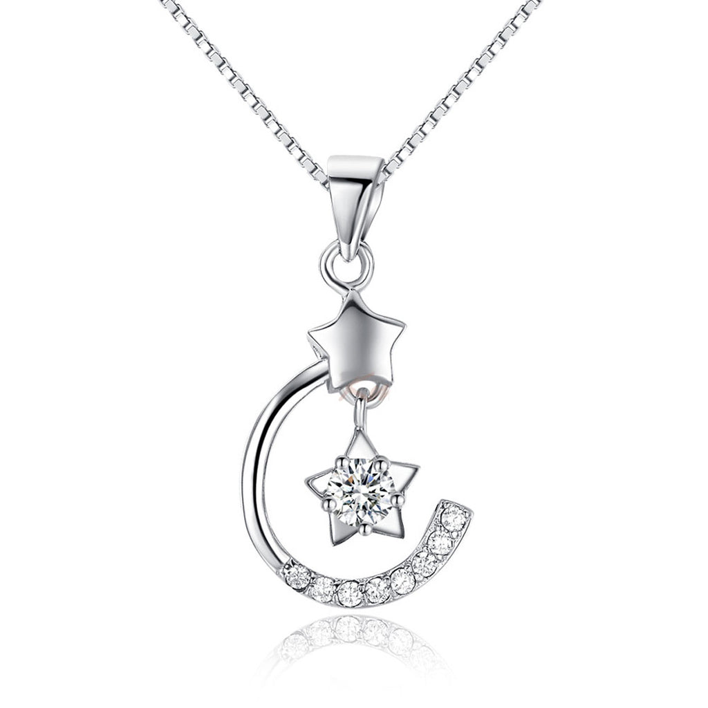 Jewelry Trends Sterling Silver and CZ Celestial Moon and Star Pendant on 18 Inch Box Chain Necklace