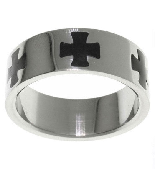 Jewelry Trends Stainless Steel Black Maltese Cross Band Ring Whole Sizes 9 - 14
