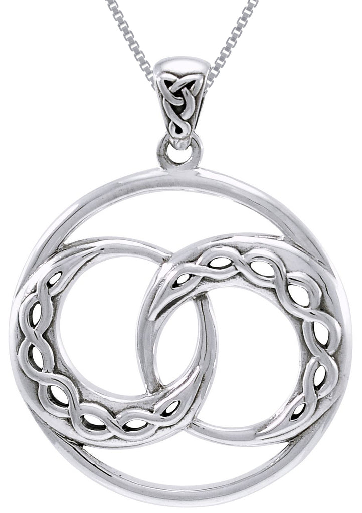 Jewelry Trends Sterling Silver Double Celtic Infinity Knot Crescent Moon Pendant on 18 Inch Box Chain Necklace