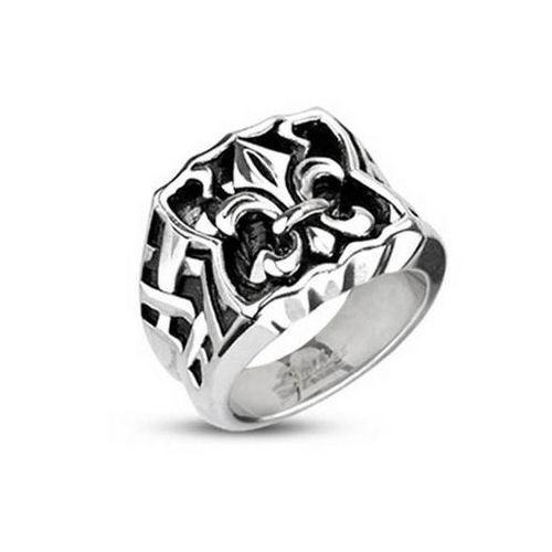 Jewelry Trends Stainless Steel Fleur De Lis Wide Band Ring Whole Sizes 9 - 14 - 9