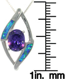 Jewelry Trends Sterling Silver Created Opal and Amethyst Purple CZ Diamond Shape Pendant on 18 Inch Chain Necklace