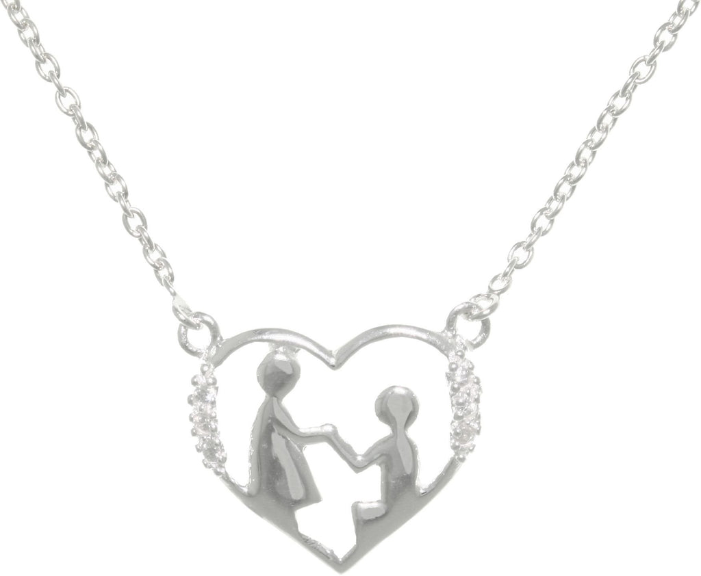 Jewelry Trends Sterling Silver Mother and Child Heart Pendant with Pave CZ on Link Chain Necklace