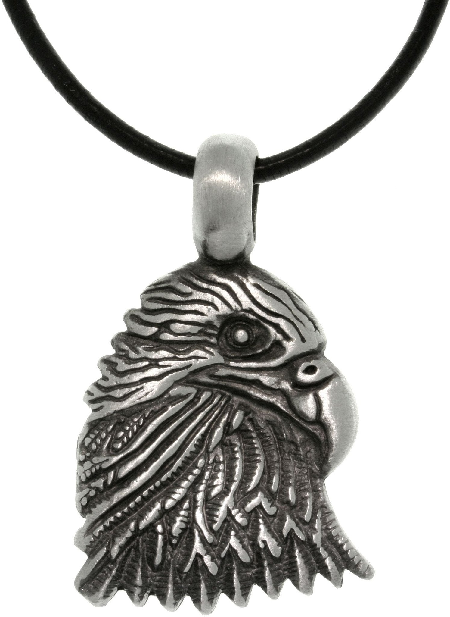 Jewelry Trends Pewter Unisex Eagle Head Freedom Pendant on Black Leather Cord Necklace