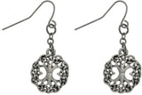 Jewelry Trends Pewter Tree of Life with Crystal Rhinestone Round Dangle Earrings