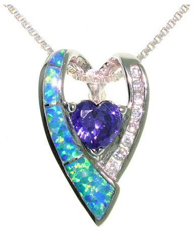 "Jewelry Trends Sterling Silver Created Blue Opal Double Heart Pendant with Clear and Amethyst Purple CZ Cubic Zirconia on 18"" Chain Necklace"