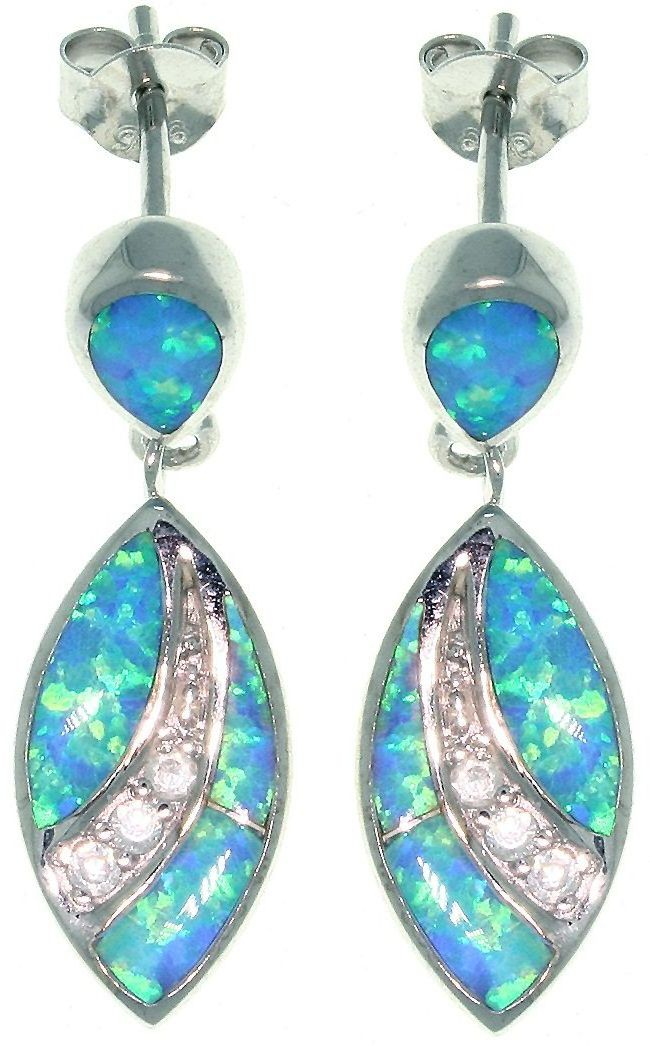 Jewelry Trends Sterling Silver Created Blue Opal and Clear Cubic Zirconia Marquis Designed Dangle Earrings